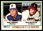 1978 O-Pee-Chee #6   -  Phil Niekro / Nolan Ryan Strikeout Leaders  Front Thumbnail