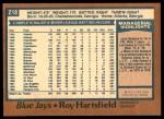1978 O-Pee-Chee #218  Roy Hartsfield  Back Thumbnail