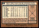 1978 O-Pee-Chee #197  Tom Poquette  Back Thumbnail