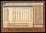 1978 O-Pee-Chee #43  Willie Montanez   Back Thumbnail