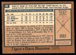 1978 O-Pee-Chee #38  Dave Rozema  Back Thumbnail