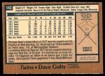1978 O-Pee-Chee #142  Dave Goltz  Back Thumbnail