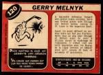 1968 O-Pee-Chee #120  Gerry Melnyk  Back Thumbnail