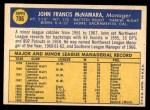 1970 Topps #706  John McNamara  Back Thumbnail