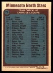 1977 O-Pee-Chee #79   North Stars Team Back Thumbnail