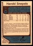 1977 O-Pee-Chee #295  Harold Snepsts  Back Thumbnail
