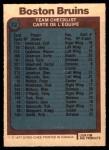 1977 O-Pee-Chee #72   Bruins Team Back Thumbnail