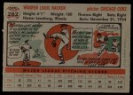 1956 Topps #282  Warren Hacker  Back Thumbnail