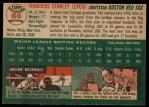 1954 Topps #66  Ted Lepcio  Back Thumbnail