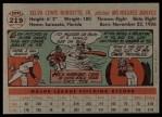 1956 Topps #219  Lew Burdette  Back Thumbnail