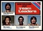 1975 Topps #127   -  Stu Lantz / EC Coleman / Pete Maravich Jazz Leaders Front Thumbnail