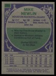 1975 Topps #103  Mike Newlin  Back Thumbnail