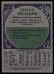 1975 Topps #315  Chuck Williams  Back Thumbnail