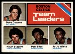 1975 Topps #117   -  Dave Cowens / Kevin Stacom / Jo Jo White Celtics Team Leaders Front Thumbnail