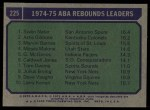 1975 Topps #225   -  Marvin Barnes / Swen Nater / Artis Gilmore Rebound Leaders Back Thumbnail