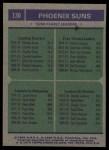 1975 Topps #130   -  Charlie Scott / Keith Erickson / Curtis Perry / Dennis Awtrey Suns Team Leaders Back Thumbnail