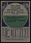 1975 Topps #268  Roland Taylor  Back Thumbnail