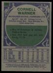 1975 Topps #72  Cornell Warner  Back Thumbnail