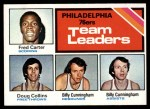1975 Topps #129   -  Fred Carter / Billy Cunningham / Doug Collins 76ers Leaders Front Thumbnail