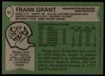 1978 Topps #91  Frank Grant  Back Thumbnail