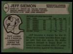 1978 Topps #58  Jeff Siemon  Back Thumbnail
