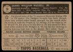 1952 Topps #51  Jim Russell  Back Thumbnail