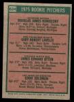 1975 Topps Mini #624   -  Gary Lavelle / Doug Konieczny / Jim Otten / Eddie Solomon Rookie Pitchers Back Thumbnail