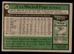 1979 Topps #295  Mitchell Page  Back Thumbnail