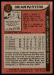 1979 Topps #21  Brian Winters  Back Thumbnail
