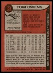 1979 Topps #102  Tom Owens  Back Thumbnail