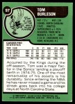 1977 Topps #97  Tom Burleson  Back Thumbnail