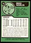 1977 Topps #37  Mike Newlin  Back Thumbnail