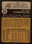 1973 Topps #542  Pat Corrales  Back Thumbnail