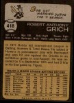 1973 Topps #418  Bobby Grich  Back Thumbnail