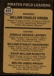 1973 Topps #517 BRN  -  Bill Virdon / Don Leppert / Bill Mazeroski / Dave Ricketts / Mel Wright Pirates Leaders Back Thumbnail