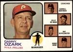 1973 Topps #486 BRN  -  Danny Ozark / Carroll Beringer / Billy De Mars / Ray Rippelmeyer / Bobby Wine Phillies Leaders Front Thumbnail