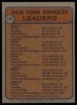 1974 Topps #141   -  Rod Gilbert / Brad Park Rangers Leaders Back Thumbnail