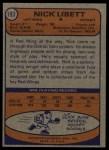 1974 Topps #193  Nick Libett  Back Thumbnail