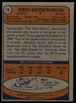 1974 Topps #19  Red Berenson  Back Thumbnail