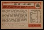 1954 Bowman #208  Johnny Antonelli  Back Thumbnail