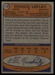 1974 Topps #178  Chuck Lefley  Back Thumbnail