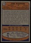 1974 Topps #113  Jim Pappin  Back Thumbnail