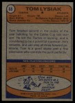 1974 Topps #68  Tom Lysiak  Back Thumbnail