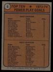 1974 Topps #6   -  Mickey Redmond / Rick MacLeish Power Play Goal Leaders Back Thumbnail