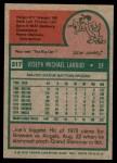 1975 Topps #317  Joe Lahoud  Back Thumbnail