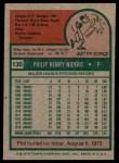 1975 Topps #130  Phil Niekro  Back Thumbnail