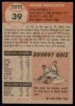 1953 Topps #39  Eddie Miksis  Back Thumbnail