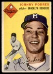 1954 Topps #166  Johnny Podres  Front Thumbnail