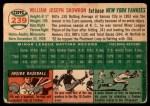 1954 Topps #239  Bill Skowron  Back Thumbnail
