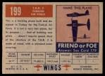 1952 Topps Wings #199   T.H.K. 2 Back Thumbnail